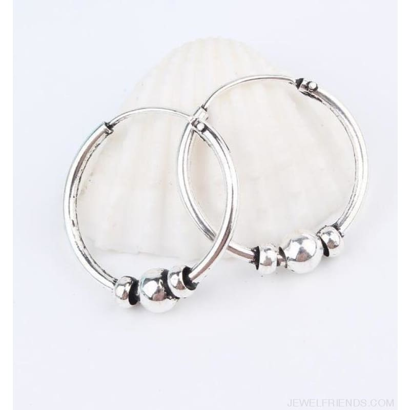 Silver Color Circle Rope Wrap Earrings - 5 - Custom Made | Free Shipping