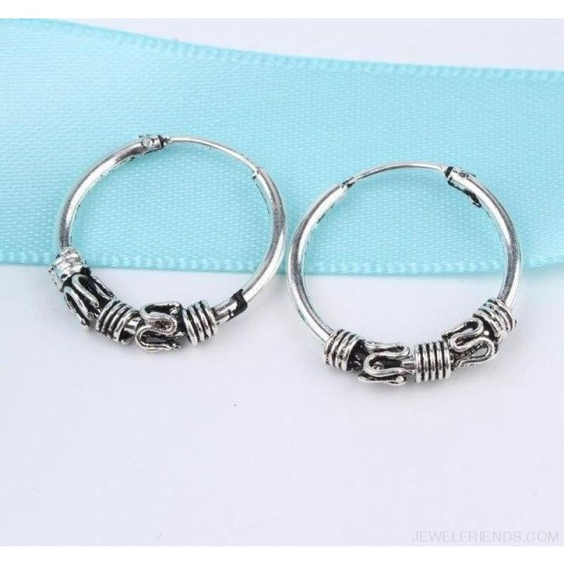 Silver Color Circle Rope Wrap Earrings - 6 - Custom Made | Free Shipping