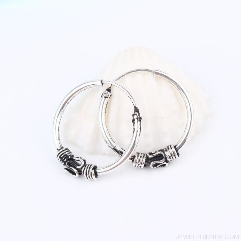 Silver Color Circle Rope Wrap Earrings - Custom Made | Free Shipping