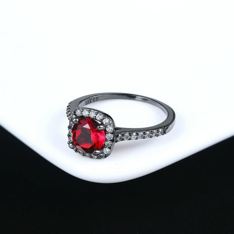 Silver Color Exquisite Square Weddin Ring Cubic Zirconia - 10 / Blacekgold Red - Custom Made | Free Shipping