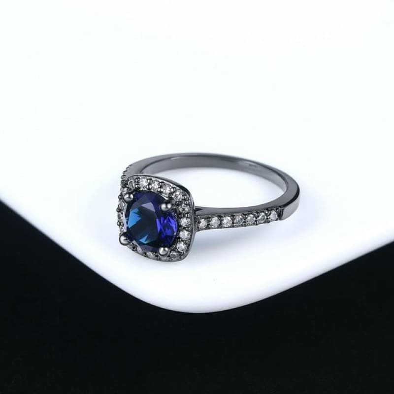 Silver Color Exquisite Square Weddin Ring Cubic Zirconia - 10 / Blackgold Blue - Custom Made | Free Shipping