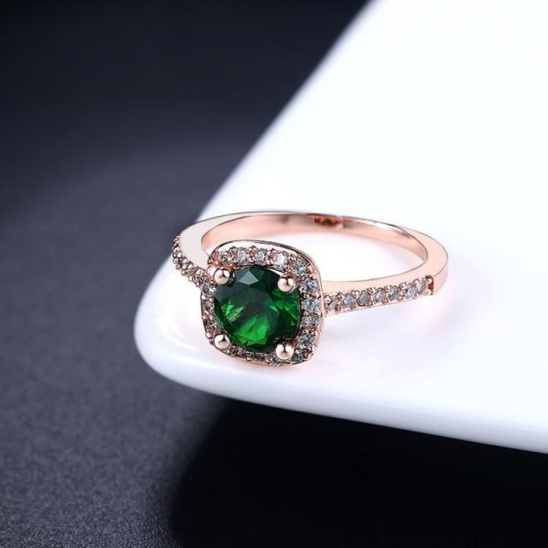Silver Color Exquisite Square Weddin Ring Cubic Zirconia - 10 / Rosegold Green - Custom Made | Free Shipping