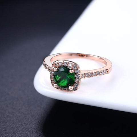 Image of Silver Color Exquisite Square Weddin Ring Cubic Zirconia - 10 / Rosegold Green - Custom Made | Free Shipping