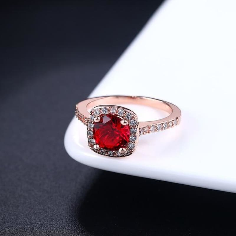 Silver Color Exquisite Square Weddin Ring Cubic Zirconia - 10 / Rosegold Red - Custom Made | Free Shipping