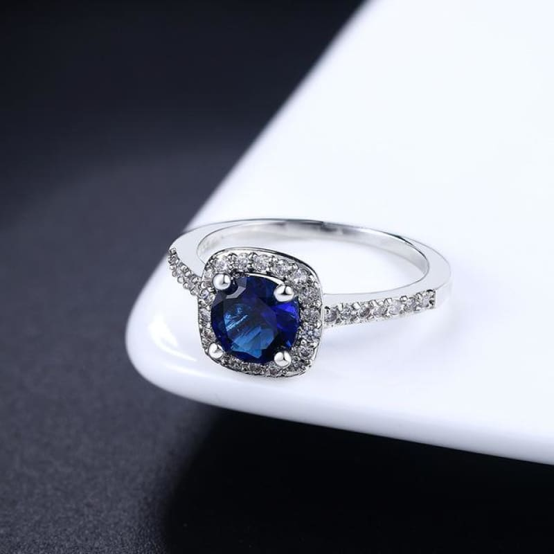 Silver Color Exquisite Square Weddin Ring Cubic Zirconia - 10 / Whitegold Blue - Custom Made | Free Shipping
