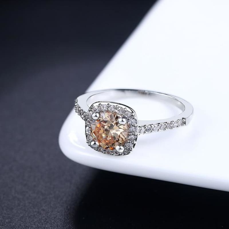 Silver Color Exquisite Square Weddin Ring Cubic Zirconia - 10 / Whitegold Yellow - Custom Made | Free Shipping