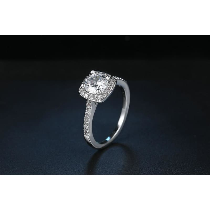 Silver Color Exquisite Square Weddin Ring Cubic Zirconia - Custom Made | Free Shipping