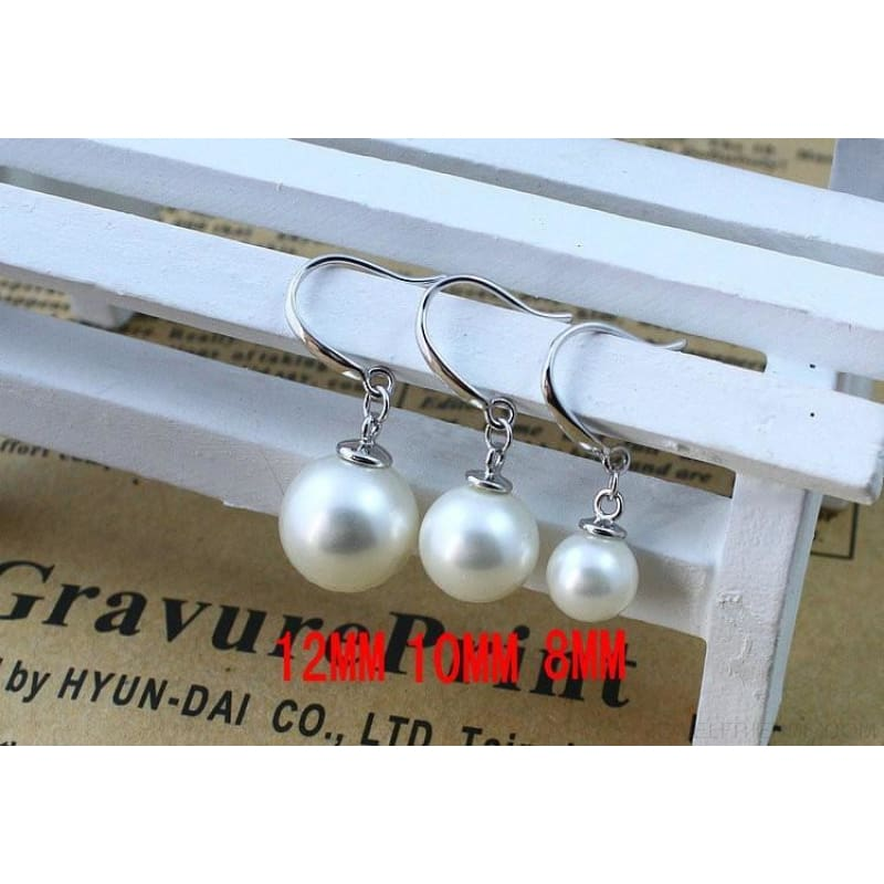 Silver Color Pearl Drop Earrings 8Mm/10Mm/12Mm - Custom Made | Free Shipping