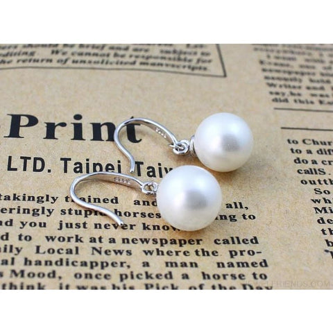 Image of Silver Color Pearl Drop Earrings 8Mm/10Mm/12Mm - Custom Made | Free Shipping