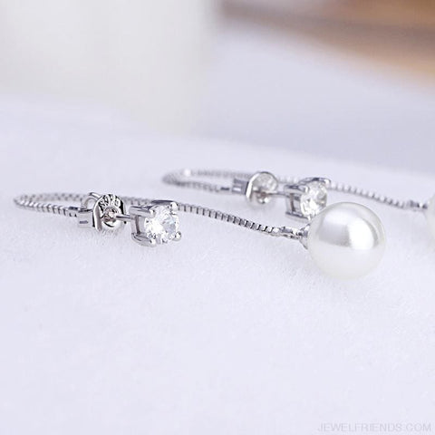 Silver-Color Simulated Pearl Pendant Long Chain Earrings - Custom Made | Free Shipping