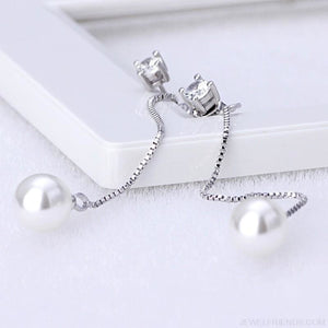 Silver-color Simulated Pearl Pendant Long Chain Earrings