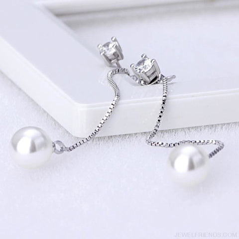 Image of Silver-Color Simulated Pearl Pendant Long Chain Earrings - Custom Made | Free Shipping