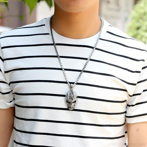 Image of Silver Color Skull Link Chain Necklace - Custom Made | Free Shipping