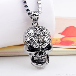 Silver color Skull Link Chain Necklace