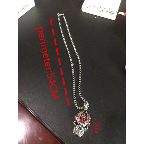 Silver Color Skull Link Chain Necklace - Custom Made | Free Shipping