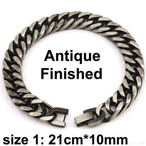 Silver / Gold / Black Stainless Steel Bracelet & Bangle Hip Hop Party Rock Jewelry - Antique Finish 10Mm 1 - Custom Made | Free Shipping