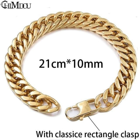 Silver / Gold / Black Stainless Steel Bracelet & Bangle Hip Hop Party Rock Jewelry - Gold Color 10Mm 1 - Custom Made | Free Shipping
