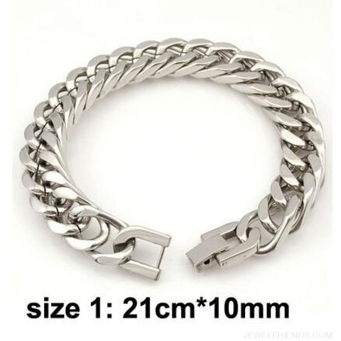 Silver / Gold / Black Stainless Steel Bracelet & Bangle Hip Hop Party Rock Jewelry - Silver Color 10Mm 2 - Custom Made | Free Shipping