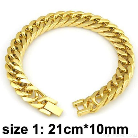 Silver / Gold / Black Stainless Steel Bracelet & Bangle Hip Hop Party Rock Jewelry - Gold Color 10Mm 2 - Custom Made | Free Shipping