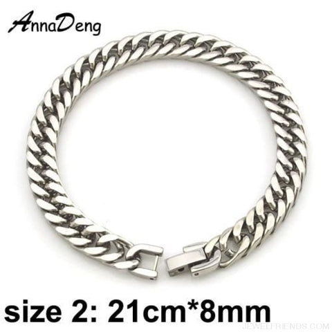 Silver / Gold / Black Stainless Steel Bracelet & Bangle Hip Hop Party Rock Jewelry - Silver Color 8Mm 2 - Custom Made | Free Shipping