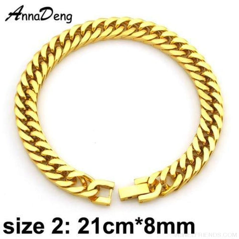 Silver / Gold / Black Stainless Steel Bracelet & Bangle Hip Hop Party Rock Jewelry - Gold Color 8Mm - Custom Made | Free Shipping