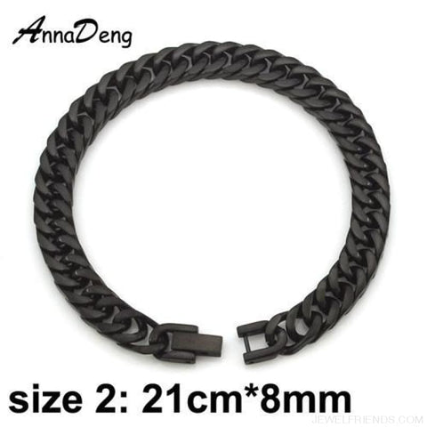 Silver / Gold / Black Stainless Steel Bracelet & Bangle Hip Hop Party Rock Jewelry - Black Color 8Mm - Custom Made | Free Shipping