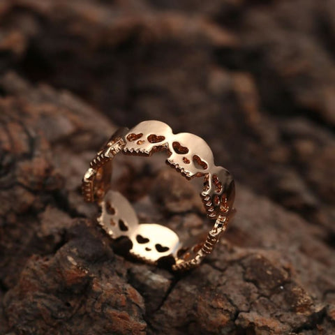 Image of Silver Gold Skulls Heart Eyes Ring - Custom Made | Free Shipping