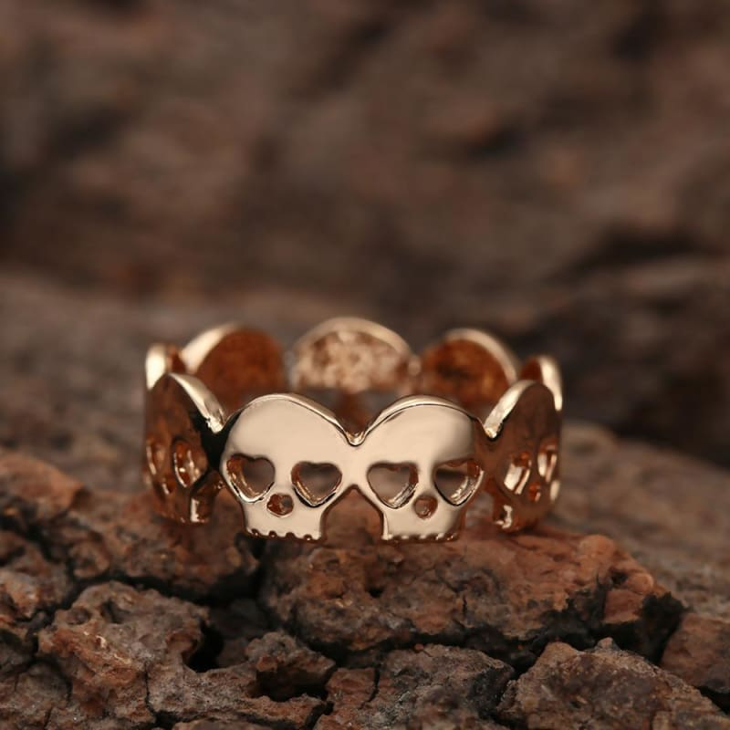 Silver Gold Skulls Heart Eyes Ring - Custom Made | Free Shipping