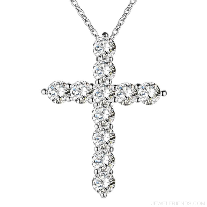 Silver Plated Cross Crystal Zircon Stone Necklace - Custom Made | Free Shipping