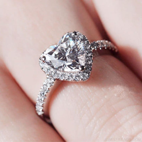 Image of Silver Plated Crystal Love Heart Shaped Bridal Ring - Custom Made | Free Shipping