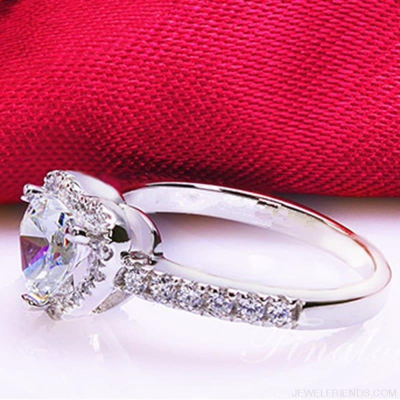 Silver Plated Crystal Love Heart Shaped Bridal Ring - Custom Made | Free Shipping