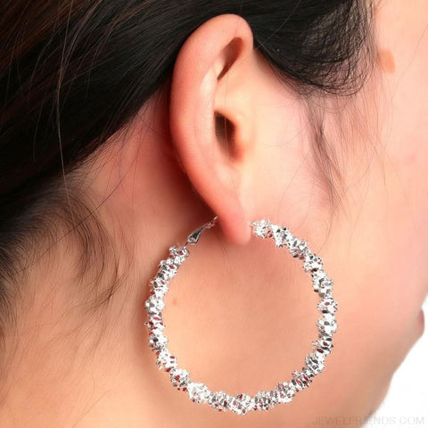 Image of Silver Plated Stars Hoop Ear Rings - Custom Made | Free Shipping