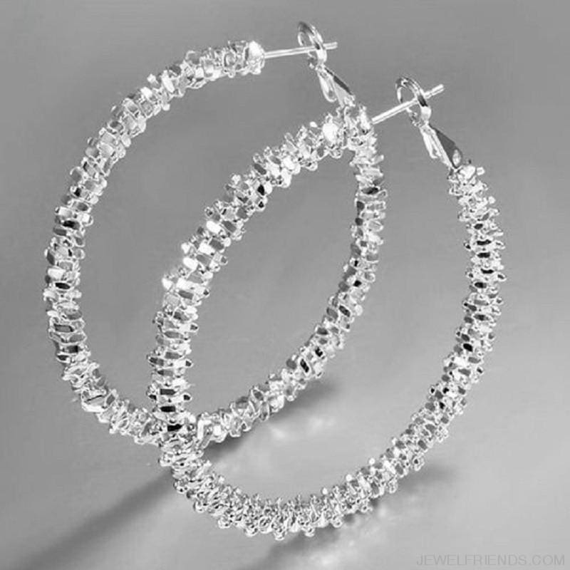 Silver Plated Stars Hoop Ear Rings - Custom Made | Free Shipping