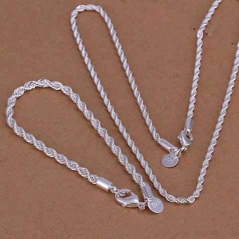Silver Plated Twisted Chain Necklace Bracelet Set - Custom Made | Free Shipping