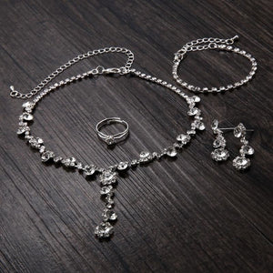 Silver Tone Crystal Tennis african jewelry sets