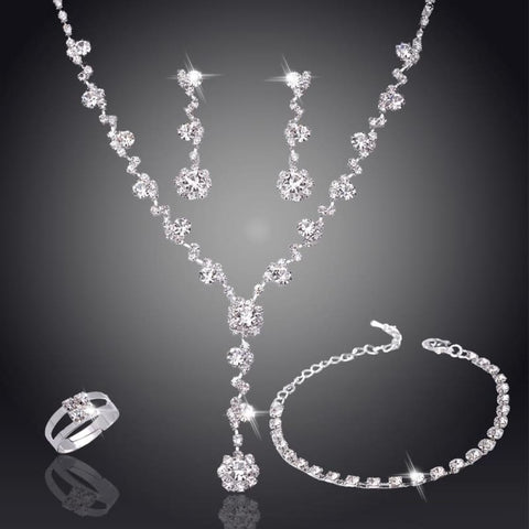 Silver Tone Crystal Tennis African Jewelry Sets - Custom Made | Free Shipping
