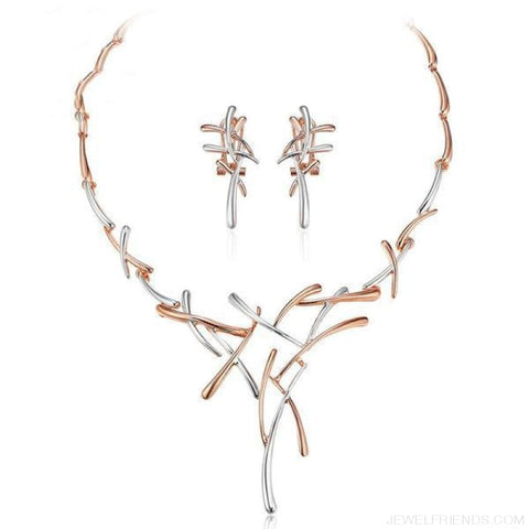 Image of Silver/gold/gun Color Metallic Statement Cross Jewelry Set - Rose Gold Plated - Custom Made | Free Shipping