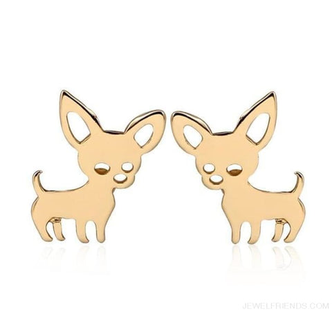Simple Cute Chihuahua Earrings - Gold-Color - Custom Made | Free Shipping