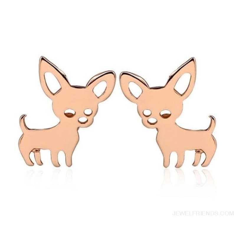 Simple Cute Chihuahua Earrings - Rose Gold Color - Custom Made | Free Shipping