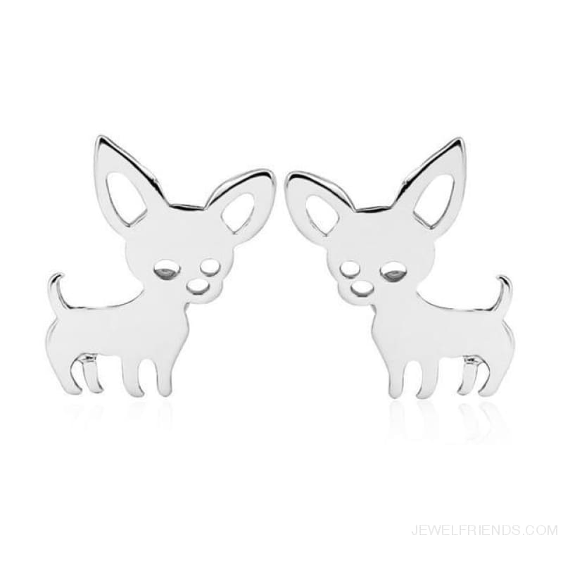 Simple Cute Chihuahua Earrings - Silver Plated - Custom Made | Free Shipping