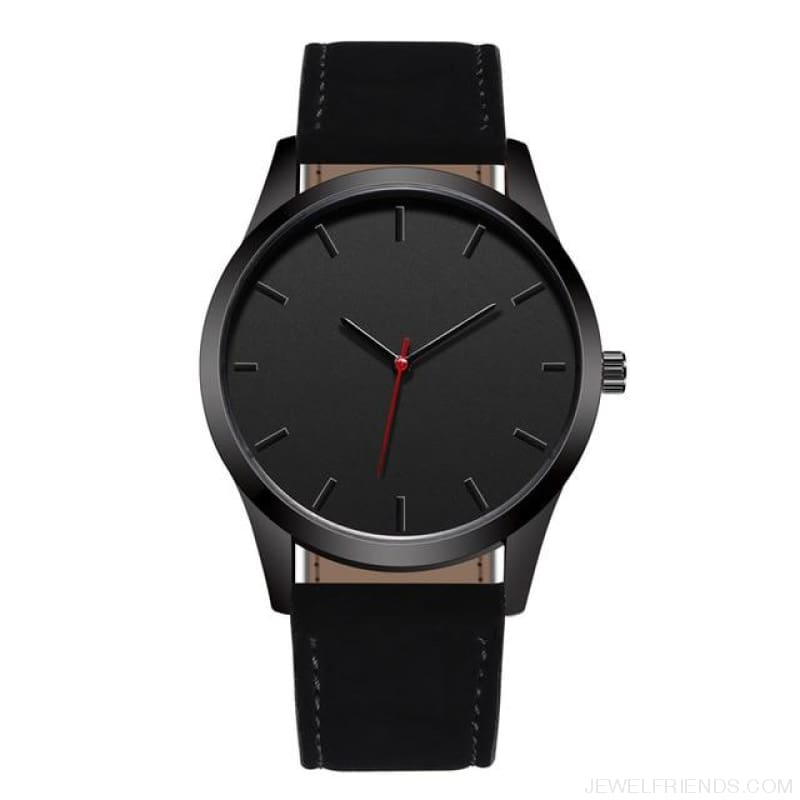 Simple Dial Quartz Leather Watches - Black - Custom Made | Free Shipping