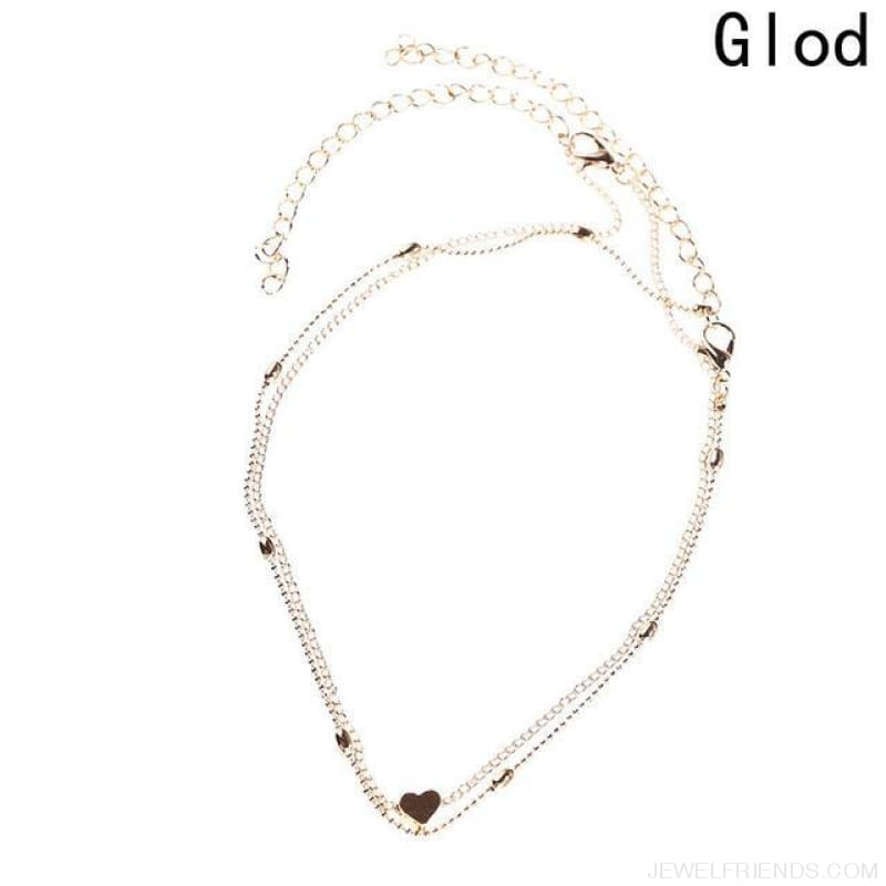 Simple Double Chain Heart Gold Dot Choker - Gd - Custom Made | Free Shipping