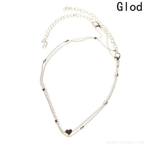 Image of Simple Double Chain Heart Gold Dot Choker - Gd - Custom Made | Free Shipping