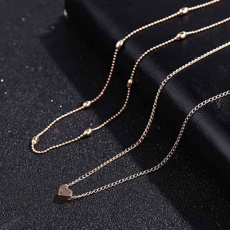 Simple Double Chain Heart Gold Dot Choker - Custom Made | Free Shipping
