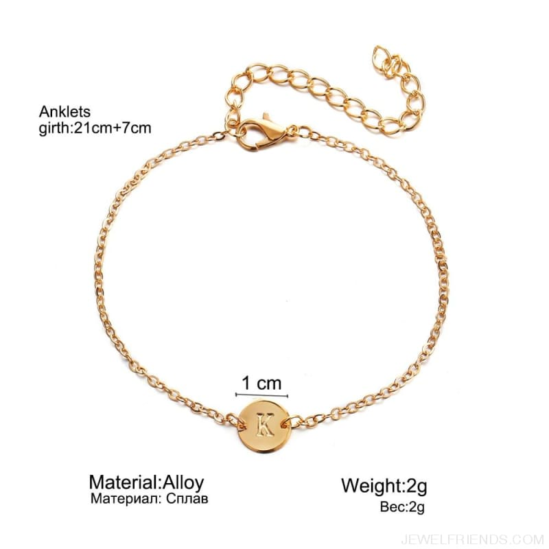Simple Gold Color Name Letter Chain Bracelet - Custom Made | Free Shipping