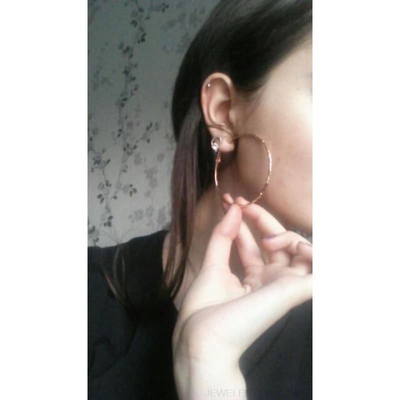Simple Gold Color Thin Big Hoop Earring - Custom Made | Free Shipping