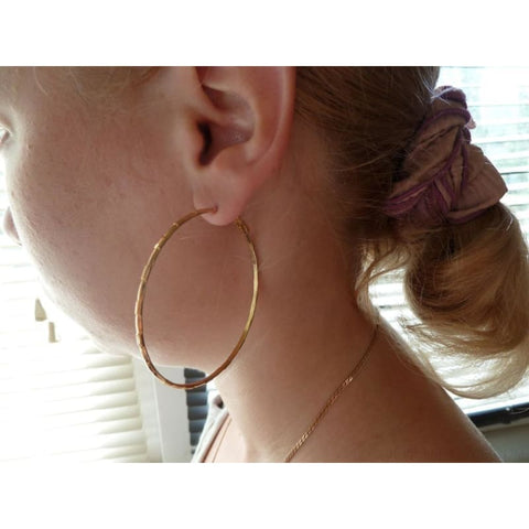 Image of Simple Gold Color Thin Big Hoop Earring - Custom Made | Free Shipping