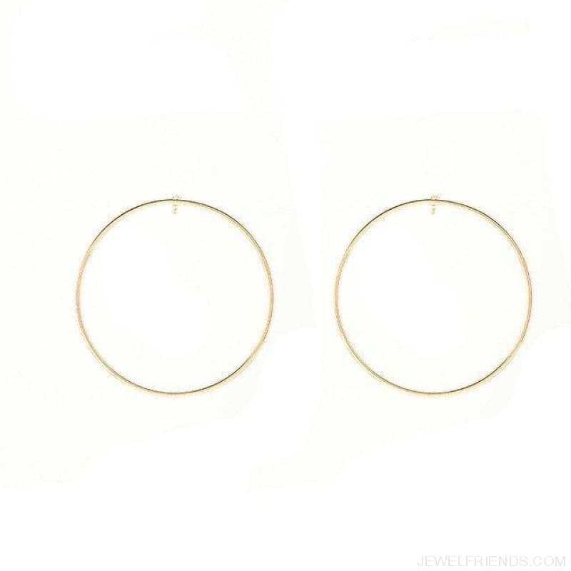 Simple Korean Big Round Circle Hoop Earrings - Gold - Custom Made | Free Shipping