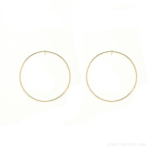 Image of Simple Korean Big Round Circle Hoop Earrings - Gold - Custom Made | Free Shipping