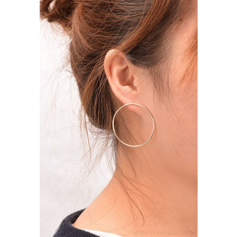 Simple Korean Big Round Circle Hoop Earrings - Custom Made | Free Shipping